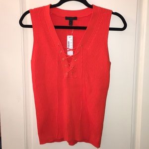 J. Crew Sleeveless Ribbed Lace Up Red Top